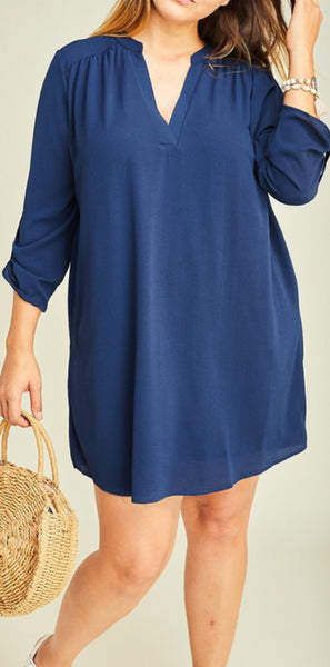 Navy V-Neck Shirt Dress Plus
