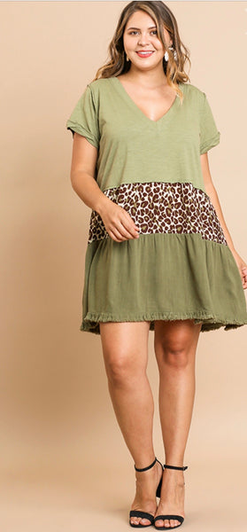 Sage Animal Print Linen Dress Plus