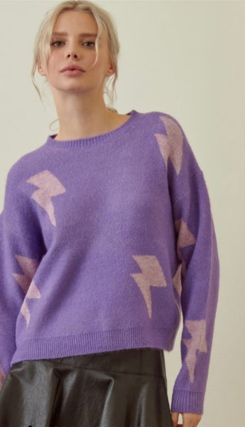 Purple Lightning Bolt Sweater