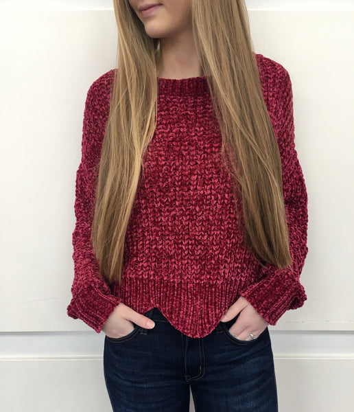 Wine Velvet Yarn Sweater