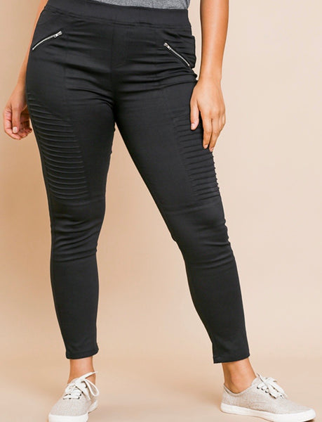 Black Moto Leggings Plus