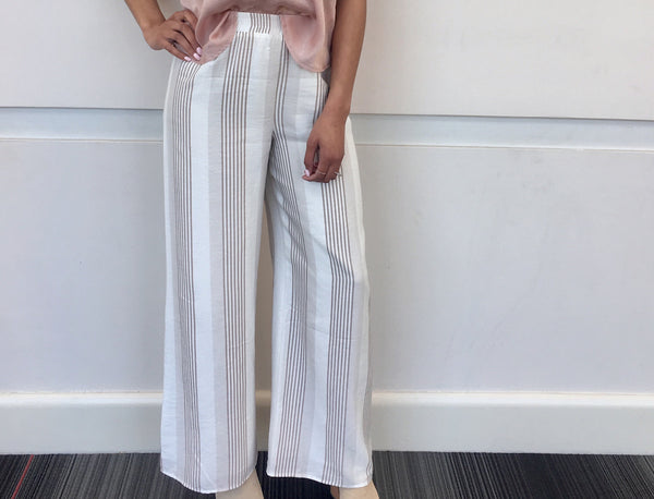 White Beige Stripe Pants