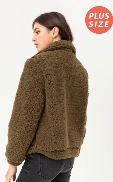 Olive Sherpa Jacket PLUS