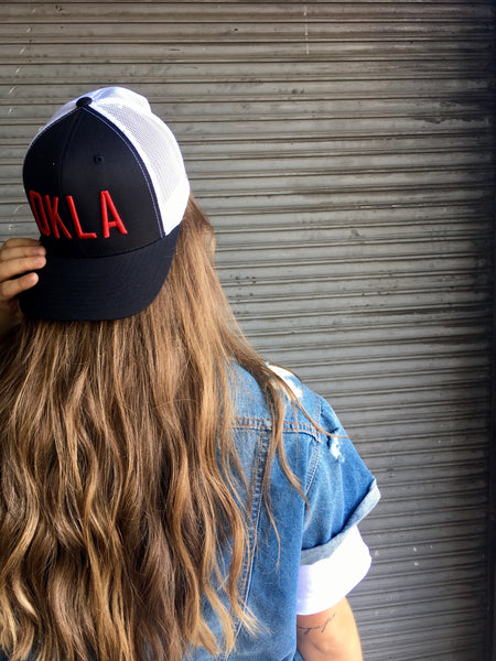 OKLA -- Two Tone Black/White Trucker with Crimson