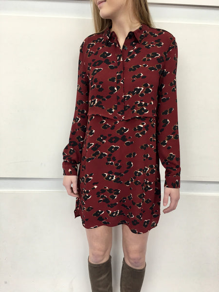 Wine Print shirt Dress