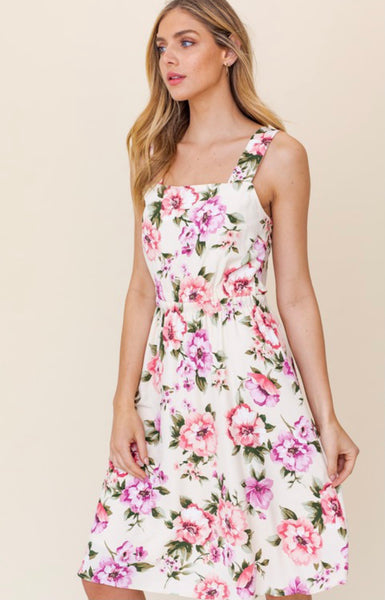 Cream Pink Floral Midi Dress with Open Back