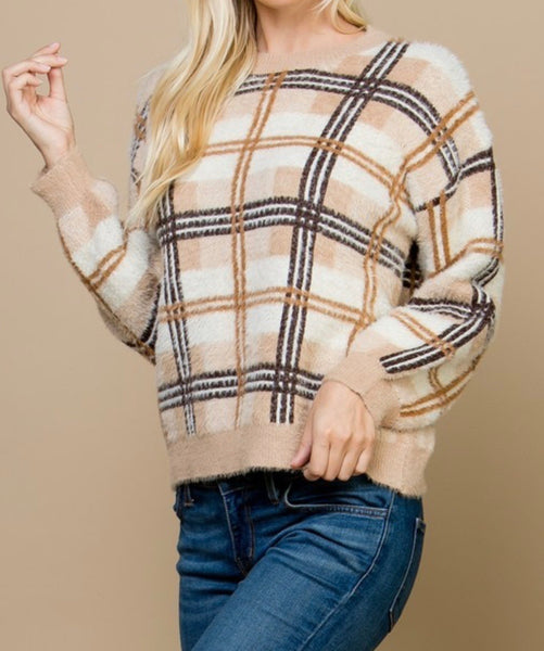 Mocha Plaid Sweater