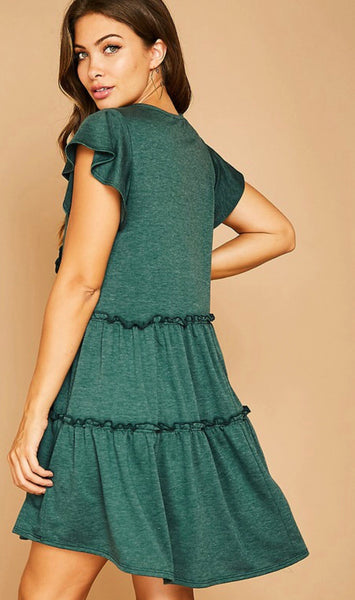 Hunter Green Flowy Dress