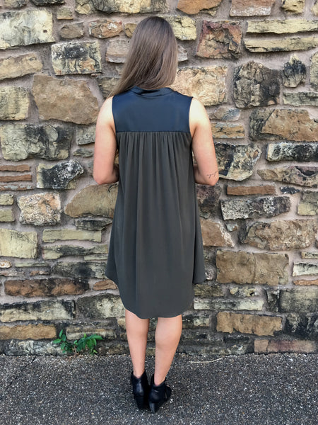 Olive Sleeveless Dress Leather Collar