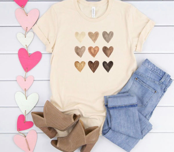 Cream Nine Heart Tee