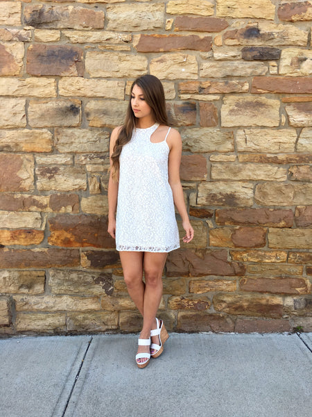 Off White Lace Halter Style Dress