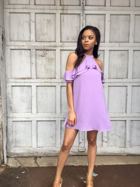 Lavender Ruffle Open Shoulder Dress