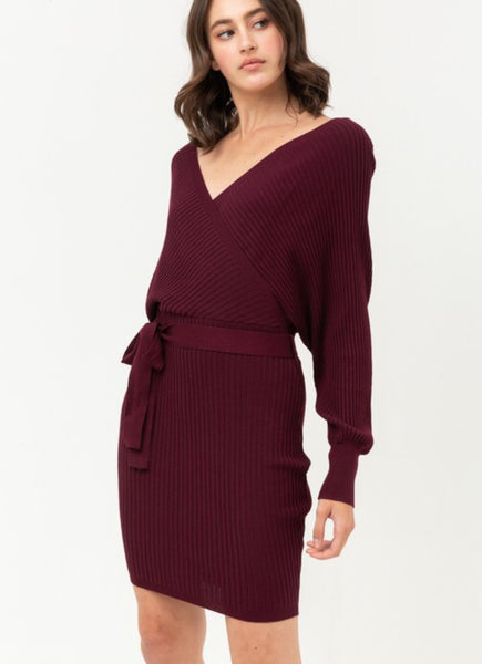 Wine Off Shoulder Knit Dress