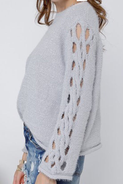 Grey Mock Neck Crochet Sleeve Sweater