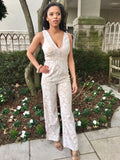 Off White Sleeveless Jumpsuit