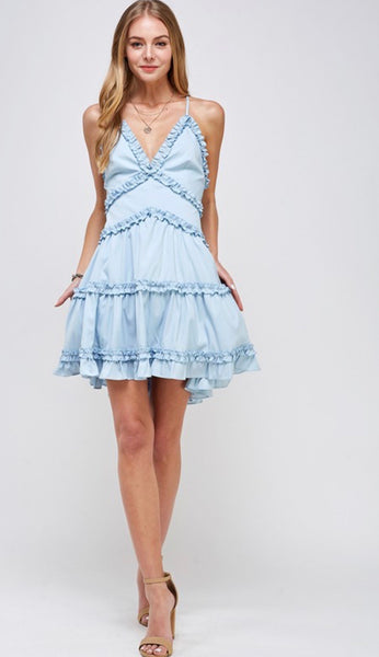 Light Blue Ruffle Trim Mini Dress