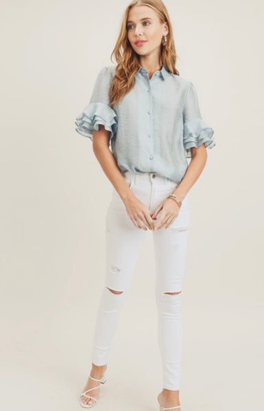 Seafoam Ruffle Button Down Top