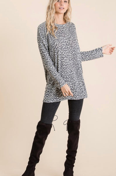 Grey Relaxed Fit Animal Tunic