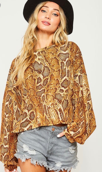 Camel Animal Print Top