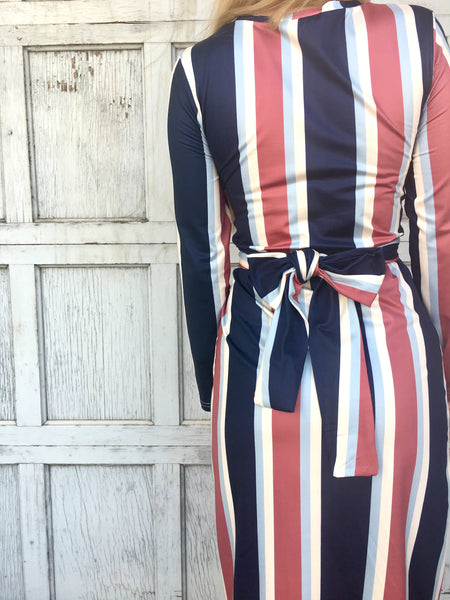 Navy Striped Ruched Midi Dress
