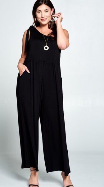 Black One Shoulder Jumpsuit Plus