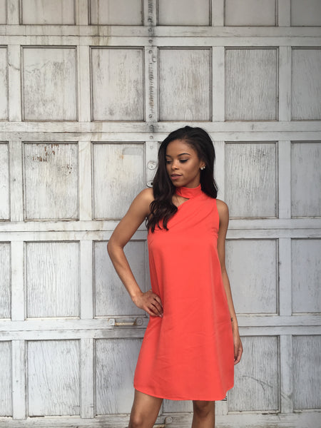 Coral One Shoulder Halter Dress