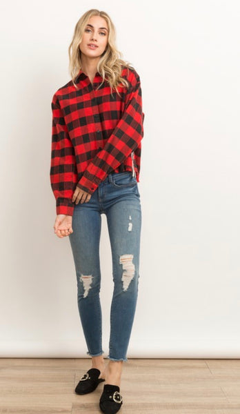 Red Striped Side Crop Shirt