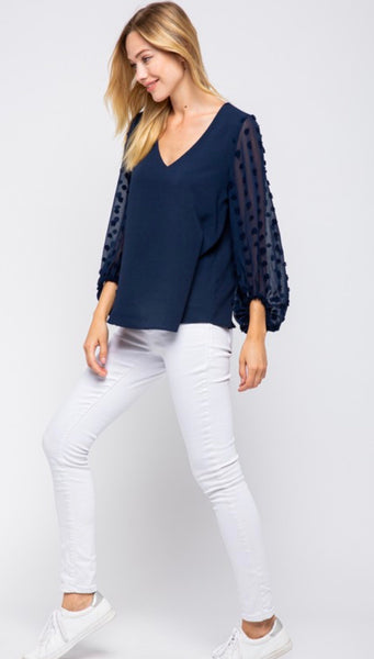 Navy Pompom Sleeve Blouse