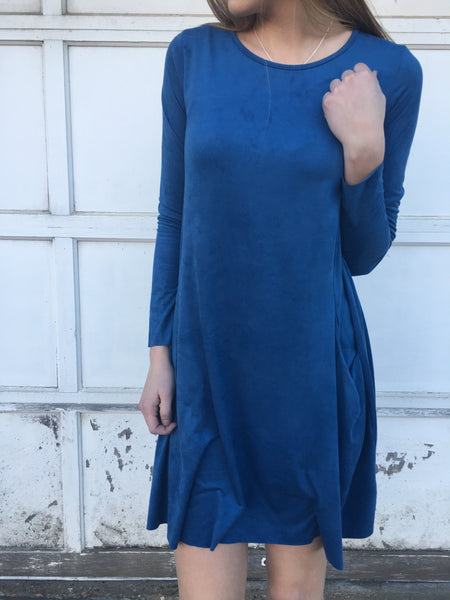 Suede Denim Dress