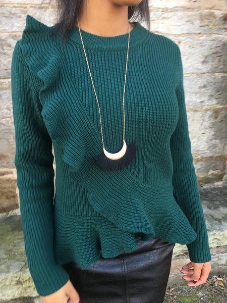 Hunter Green Ruffle Sweater