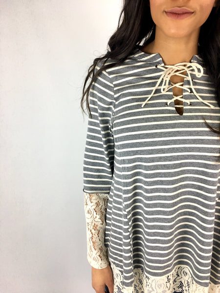 Grey Cream Stripe Top