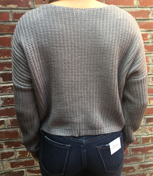 Grey Sweater Tie Pockets