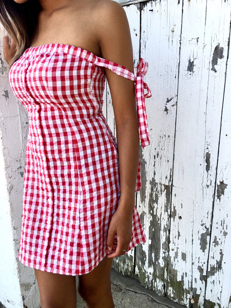 Red/White Checked Gingham Dress