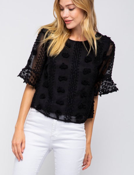 Black Floral Embellished Top