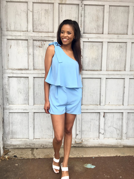 Ice Blue One Shoulder Romper