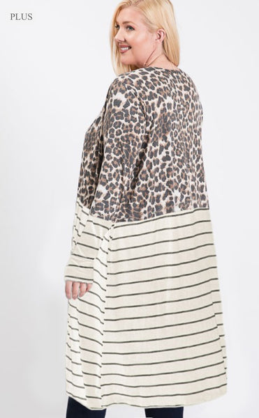 PLUS Oatmeal Animal Print Cardigan