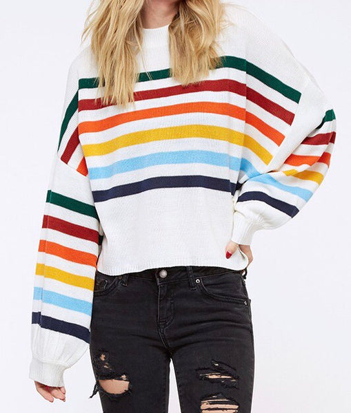 Ivory Multi Color Stripe Pullover Sweater
