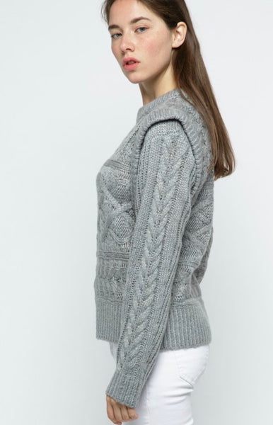 Grey Layered Cable Sweater