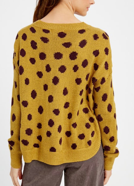 Deep Mustard Animal Polka Dot Sweater