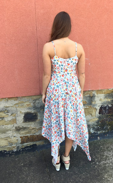 Madison Tiered Flounce Pastel Floral Print Dress