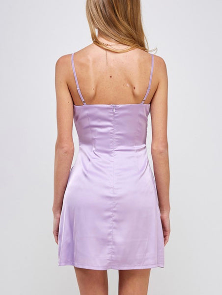 Lavender Satin Mini Dress
