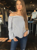 White Striped Off Shoulder Top