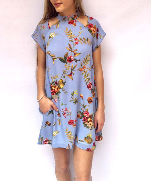 Periwinkle Cut Out Shoulder Dress