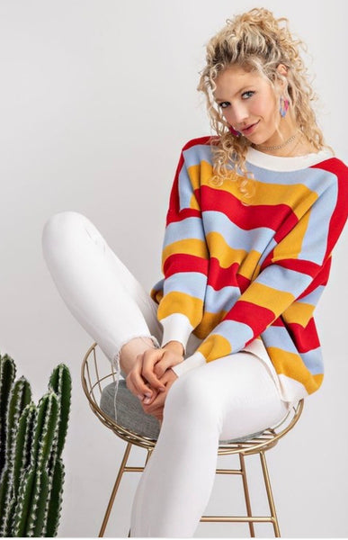 Red Blue Stripe Sweater