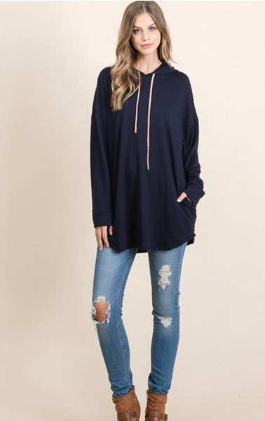 Navy Hooded Shirt