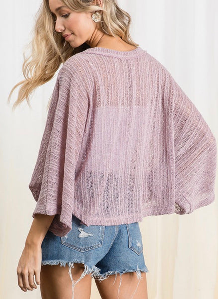 Mauve Light Weight Boxy Sweater
