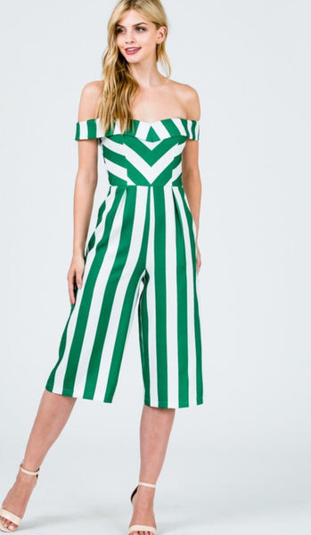 Kelly Green Striped Jumpsuit