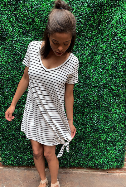 Off White Black Stripe Tie Hem Dress
