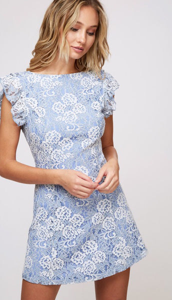 Dusty Blue/Ivory Lace Dress