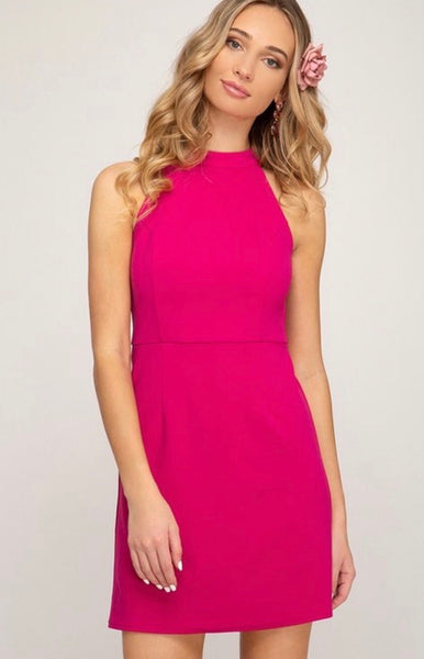 Fuschsia halter dress